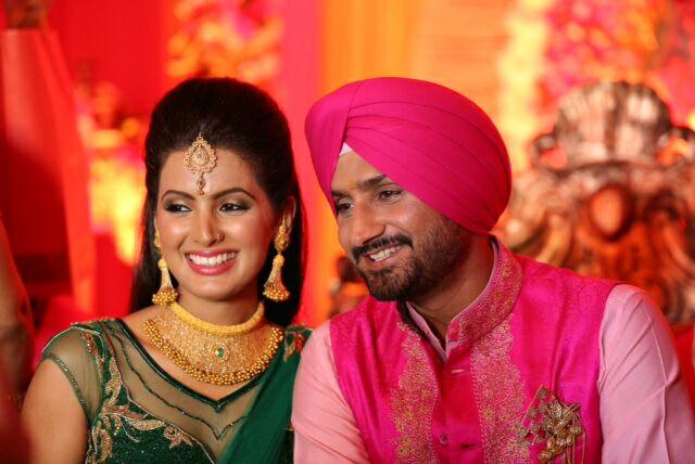 Geeta Basra and Harbhajan Singh on their Sangeet ceremony