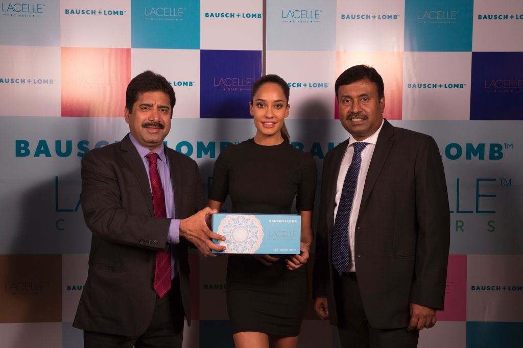 Left to right-Sanjay Bhutani (Managing Director, India & SAARC at Bausch + Lomb India), Lisa Haydon (Bausch + Lomb, Lacelle - Brand ambassador,Indranil Chakravarty (Commercial Director