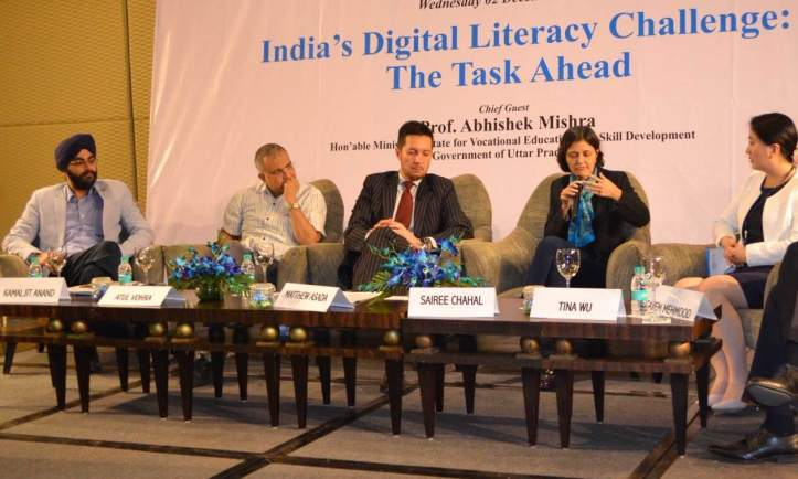 Dr. KJS Anand (extreme left) , executive director of IMS Noida and fellow of IIM Ahmdabad at India`s Digital Literacy Challenge panel discussion with other panelist .